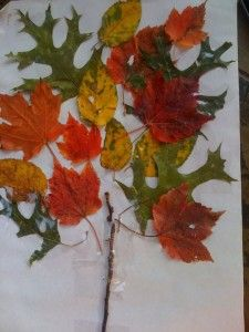 Fall leaf craft.  I use hot glue.  I have the children go outside and collect their sticks, leaves, grass, mulch, etc, bring it inside and point to where they want me to glue it.