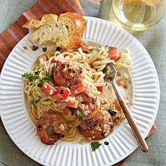 Linguine with Spicy Shrimp from Cooking Light. Love love love this recipe! I use Creole seasoning instead of Cajun (it's what I had). I also add mushrooms and sometimes other veggies - I've added bell pepper and asparagus before. So good.
