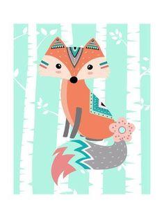Tribal Fox Girl Ii By Tamara Robinson Canvas Art - Multi Tribal Fox, Tribal Animals, Fox Girl, Poster Prints, Art Prints, Woodland Animals, Canvas Artwork, Medium Art, Baby Clothes Shops