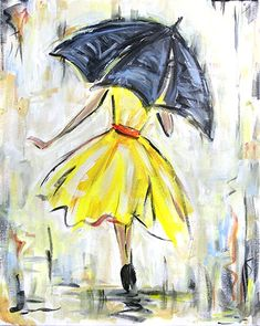Join us for a Paint Nite event Wed Apr 2018 at 1050 Street Sacramento, CA. Purchase your tickets online to reserve a fun night out! Umbrella Painting, Dress Painting, Umbrella Art, Spring Painting, Painting & Drawing, Yellow Umbrella, Easy Paintings, Painting Inspiration, Diy Art