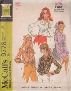 MOMSPatterns Vintage Sewing Patterns - McCall's 9778 Vintage 60's Sewing Pattern GROOVY BIG Huge Lapels Mod or Disco Housewife Easy Blouse Set, 3 Styles