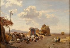 Reapers in the Roman Campagna - Oswald Achenbach 1862