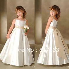 De la muchacha de flor de los patrones para vestidos baratos para bodas occidental correa de espagueti plisada wasitband una línea de satén largo
