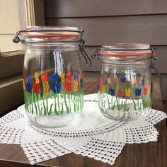Glass Canister Set  Glass Jars with Tulips  Made by MyVintagePoint