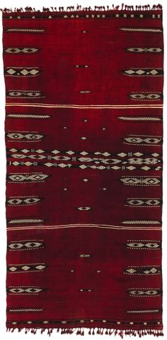 Africa | Woman's cover ~ bakhnouk ~ from the Djlass Berber people of Tunisia | Wood and cotton, supplementary patterning | Early 20th century