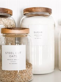 Simply pantry labels from Paper and Pear Store: New! Minimalist Pantry Labels Customization Available Durable Water & Oil Resistant Square or Round fits Mason Jars Mason Jars, Pot Mason, Glass Jars, Container Store, Küchen Design, House Design, Garden Design, Modern Design, Baking Station