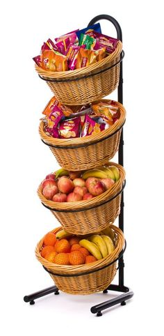 4 Tier wicker basket display stand with powder coated tube frame and 4 round wicker baskets. Overall size of stand 1330mm high x 375mm wide x 400mm deep. Basket sizes are 375mm diameter x 180mm deep (internal). | eBay!