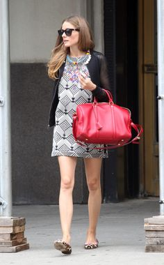 Olivia Palermo Style in Print Pairing Dress New York