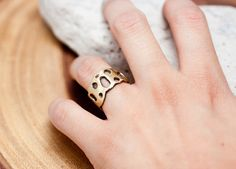 The Moon RingBrass Brushed Textured Wide Band by CSfootprints, $50.00