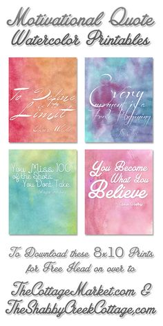 free water color motivational quotes printables