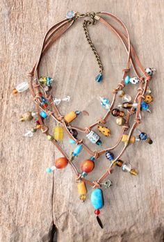 Bohemian g ypsy leather necklace beaded with Yellow, Turquoise and Amber beads - Bohemian jewelry & African jewelry