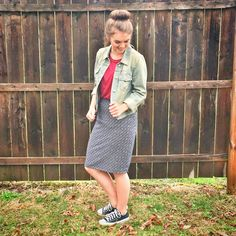 Modest clothing/ denim jackets pencil skirts and converse