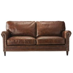 2 seater leather sofa in brown Sinatra