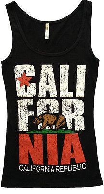 California Republic Womens Tank Top Shirts Cali State Flag Bear Los Angeles | eBay