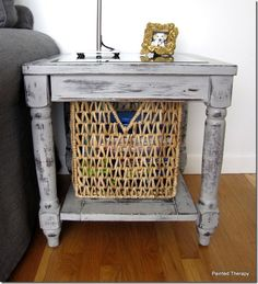 Paris Grey Side Table-Soak steel wool in apple cider vinegar, rub down new wood with the soaked steel wool for an instantly aged wood look.