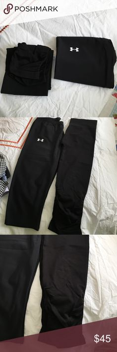 2 pants (under armor & electric yoga) Lot of 2 yoga pants. Under Armor (medium) and Electric yoga (xs/s). Capri leggings. The Electric yoga pants have a small snag on the back (see pictures). They are ruched at the bottom. Other than that EUC. Electric Yoga Pants Ankle & Cropped