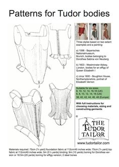 Shop | The Tudor Tailor | Pattern for Tudor / Elizabethan Bodies or Corset - Small Sizes