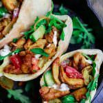 Homemade Chicken Shawarma   The Mediterranean Dish. Easy, healthy chicken shawarma recipe! With earthy spices, and an olive oil marinate. Recipe comes with sauces, salad etc. This flavorful shawarma is a hit every single time! See it on TheMediterraneanDish.com #shawarma #shawarmarecipe #chickenshawarma #mediterraneanrecipe #mediterraneandiet