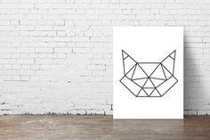 Cat Head Geometric Origami Print Poster// by PrintHappyStudio