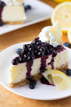 Lemon Cheesecake with Blueberry Compote is ridiculously creamy & bursting with spring flavors. With a graham cracker crust, fresh lemons & juicy berries.