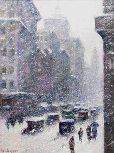 Wiggins, Guy C (b,1883)- Snowy Day Travel- Winter, NYC, VI