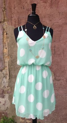 Mint Polka Dot Dress, cute!