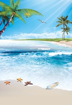 This graphic is about summer,  beach, blue sky, sunshine, palm tree, seagull and sea. More free backgrounds download from pngtree.