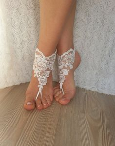 bridal anklet ivory Beach wedding barefoot sandals by BarefootShop
