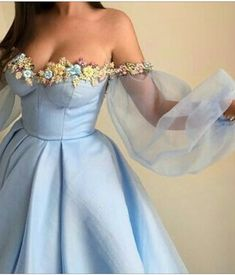Blue off the shoulder puffy sleeves floral dress