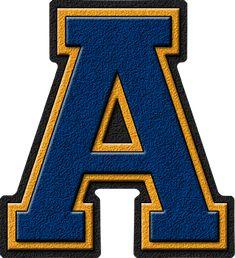 Presentation Alphabets: Columbia Blue, Gold & Navy Blue Varsity Letter A