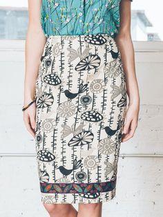 Mod Birds Pencil Skirt