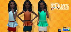 """onyxsims: """"  One new mesh for little girls, the Peplum dress. The original download has 11 solid colors while the two tone version has 8 options. Only for The Sims 4 DOWNLOAD [x] """""""