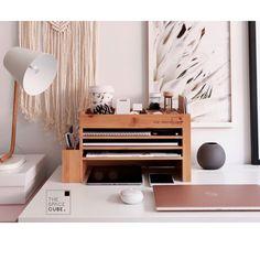 Modern Wood Home Office Supplies Desk Organiser Desktop Scrapbook Organization, Office Supply Organization, Desktop Organization, Home Office Desks, The Office, Zara Home, Diy Bureau, Cube Desk, Desktop Shelf