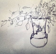 Roseville Pottery and Eucalyptus Sketch