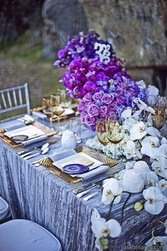 Purple and blue wedding ideas!!!!!!!! love the purple flowers with the blue