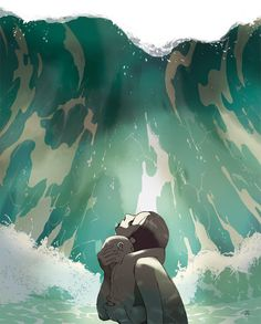 tomer hanuka's swallowed by the sea.  The power of the mother's love turned the child into the first mercreature so she could survive.