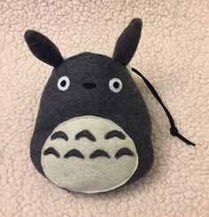 Totoro (dark grey/light grey/blue/pink) chalk bag, rock climbing bag, gymnastics bag, character drawstring bag by Chalkbums on Etsy, $45.95