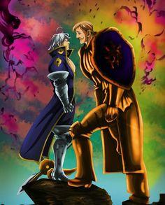 Estarossa(Mael) vs Escanor from Nanatsu no Taizai Otaku Anime, Anime Guys, Manga Anime, Anime Art, Escanor Seven Deadly Sins, Meliodas Vs, Praise The Sun, 7 Sins, Anime Characters