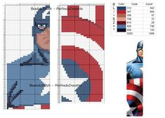 Captain America, Marvel - marque page Cross Stitch For Kids, Cross Stitch Books, Cross Stitch Bookmarks, Beaded Cross Stitch, Cross Stitch Charts, Cross Stitch Designs, Cross Stitch Embroidery, Embroidery Patterns, Cross Stitch Patterns