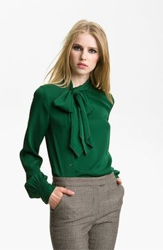 Nordstrom Clothes - A beautiful emerald blouse. (Rachel Zoe 'Maryna' Side Placket Blouse available at Fashion Mode, Work Fashion, Fashion Outfits, Womens Fashion, Rachel Zoe, Business Outfits, Office Outfits, Work Outfits, Office Wear