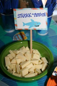 "Hostess with the Mostess® - Under the Sea First Birthday I could do ""alligator teeth"" with a white cheese."