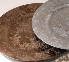 Amazon.com - Set of 4 Floral Design Round Charger. Plates 13 Inch. Copper