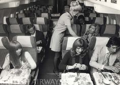British Airways. BOAC Boeing 707. Economy cabin. 1970s