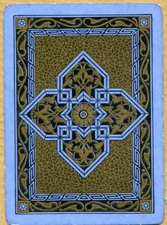 Single Swap Playing Card Vintage Art Deco Pattern Design Geometric Blue Gold | eBay