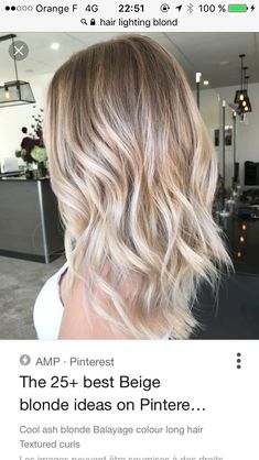 Here's Every Last Bit of Balayage Blonde Hair Color Inspiration You Need. balayage is a freehand painting technique, usually focusing on the top layer of hair, resulting in a more natural and dimensional approach to highlighting. Cool Ash Blonde, Brown Blonde Hair, Perfect Blonde, Blonde Color, Darker Roots Blonde Hair, Medium Ash Blonde Hair, White Blonde, Hair Medium, Blonde Bobs