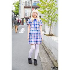 Harajuku Girl in Candy Stripper Plaid Dress, Over-The-Knee Socks Ribbon-Laced Platforms featuring polyvore