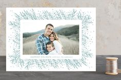 """""""Amazing Frame"""" - Customizable Holiday Petite Cards in Blue or White by Phrosne Ras. Happy Holidays, Christmas Holidays, Merry Christmas, Religious Christmas Cards, Holiday Photo Cards, Merry And Bright, Cheers, Wedding Invitations, Card Making"""