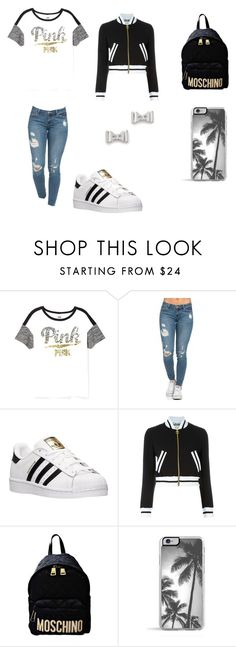 """School Outfit "" by prettymissmai ❤ liked on Polyvore featuring Victoria's Secret, adidas, Moschino, Zero Gravity, Marc by Marc Jacobs, women's clothing, women, female, woman and misses"