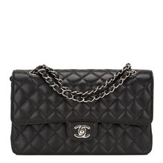 #Chanel Black Quilted Caviar Medium Classic Double Flap #Bag