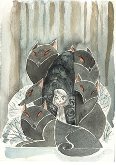 """Tomm Moore, """"Aisling and Wolves (The Secret of Kells)"""""""